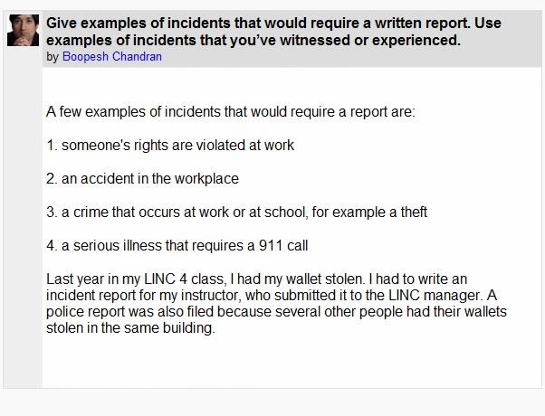 Incident Reports: Introduction Activity 1